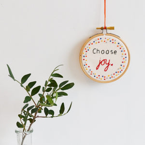 Inspirational Quote 'Choose Joy' Mini Hoop Art