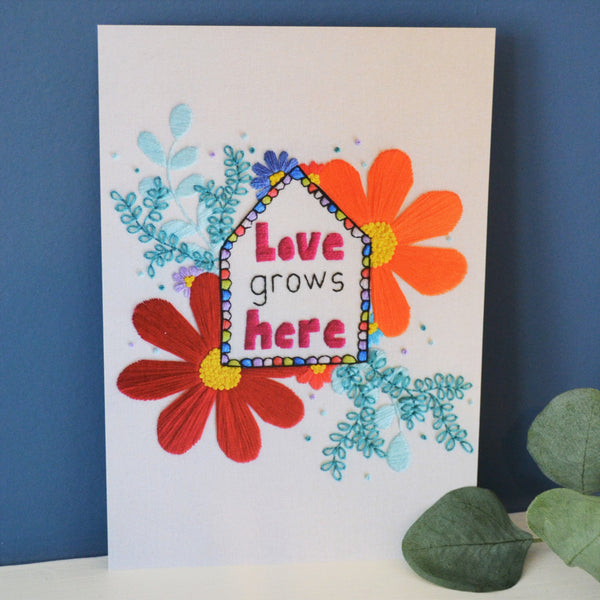 Love Grows Here A5 Floral Hand Embroidery Art Print