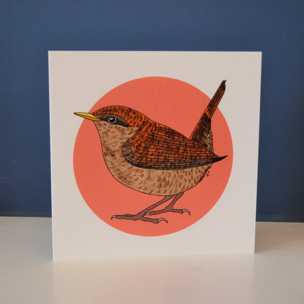 A digitally illustrated card with a wren with a pink spot behind it on a white background