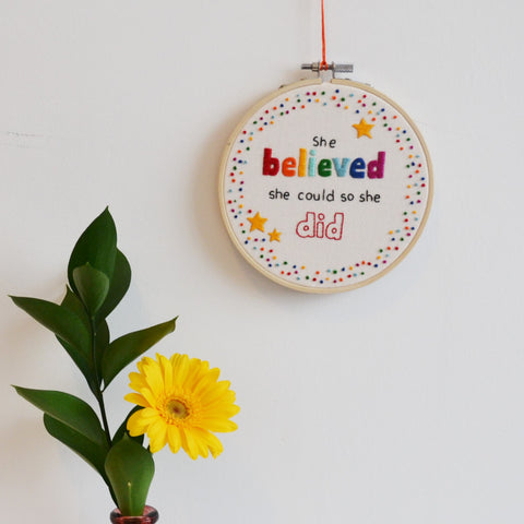 Inspirational Quote Hoop Art 'She Believed She Could'
