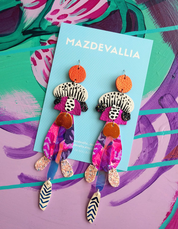 Magenta Nepenthes Statement Earrings