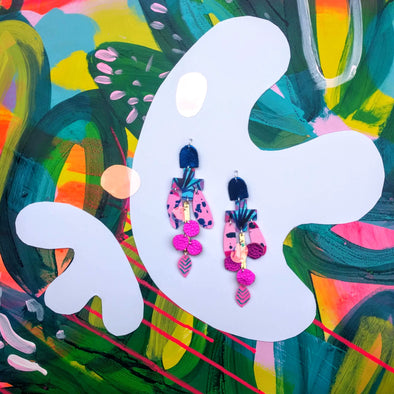 The Banyan Tree Statement Earrings - Hot Pink