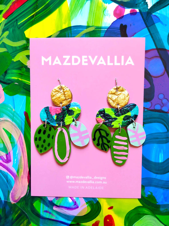 Jade Lotus -  Statement Earrings