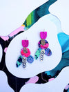 Bird Orchid Statement Earrings - Hot pink