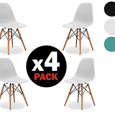 Pack 4 sillas Eames Blancas Tower wood