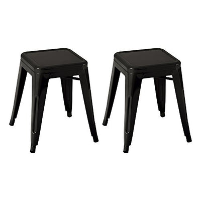 Taburete apilable industrial de metal estilo Tolix de Norwood Commercial Furniture, Negro, NOR-IAH3021-BL-SO (conjunto de 2)