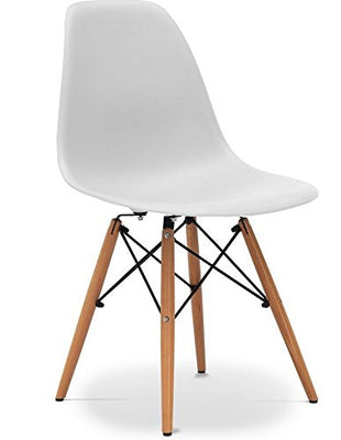 Silla nórdica tower wood eames blanca
