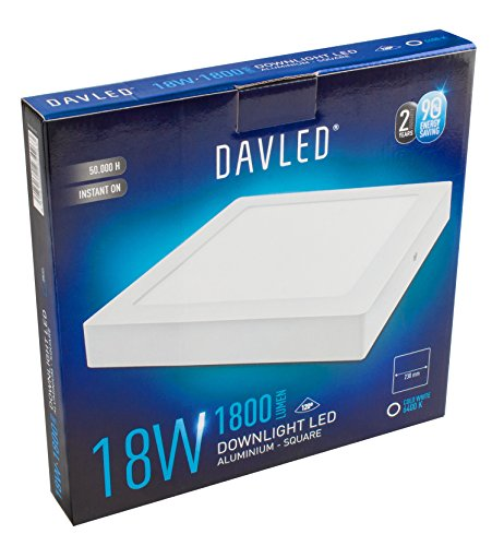 DavLED 23426 - Downlight LED cuadrado (disponible en varios colores), color blanco, 18W, luz fría, 1800 lumens, 230 mm