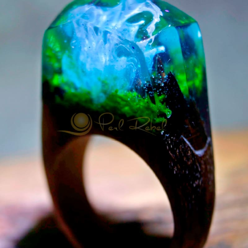 Magic Wood Bague Bois & Resine - Feerie Marine - Secret