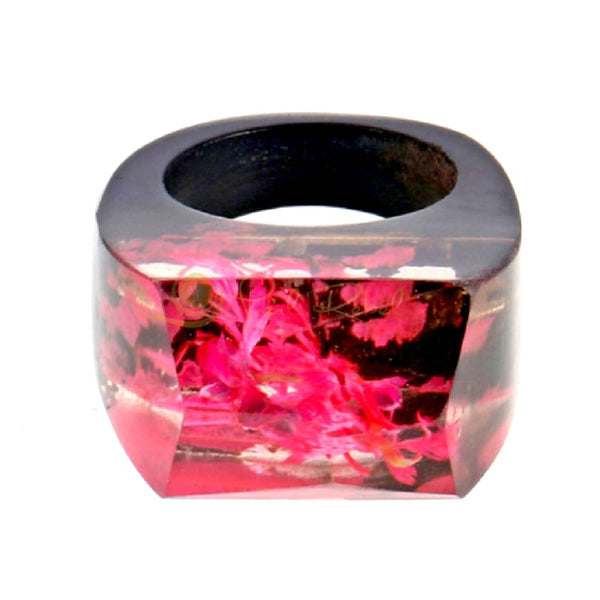 Magic Wood Bague Bois & Resine - Floral Papillon - Secret