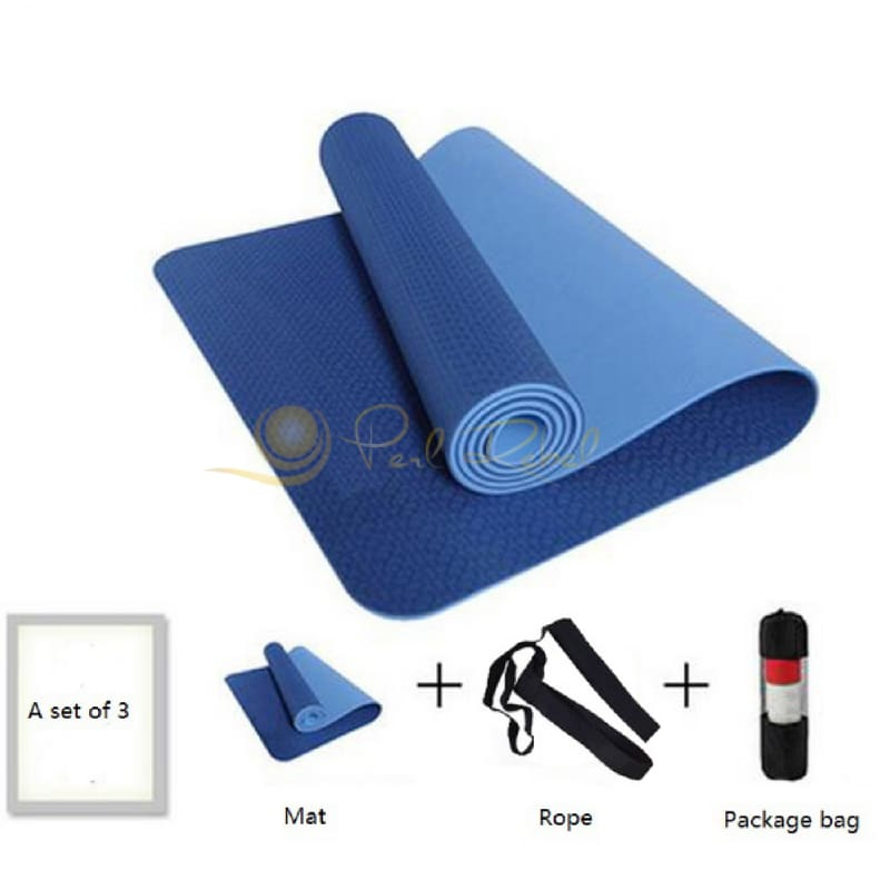 Pilates - Yoga & Fitness - Mat + Sangle Sac - Réversible - 183/61/0 6 Bleu Tapis Yoga Pilates