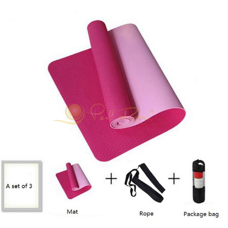 Pilates - Yoga & Fitness - Mat + Sangle Sac - Réversible - 183/61/0 6 Rose Tapis Yoga Pilates