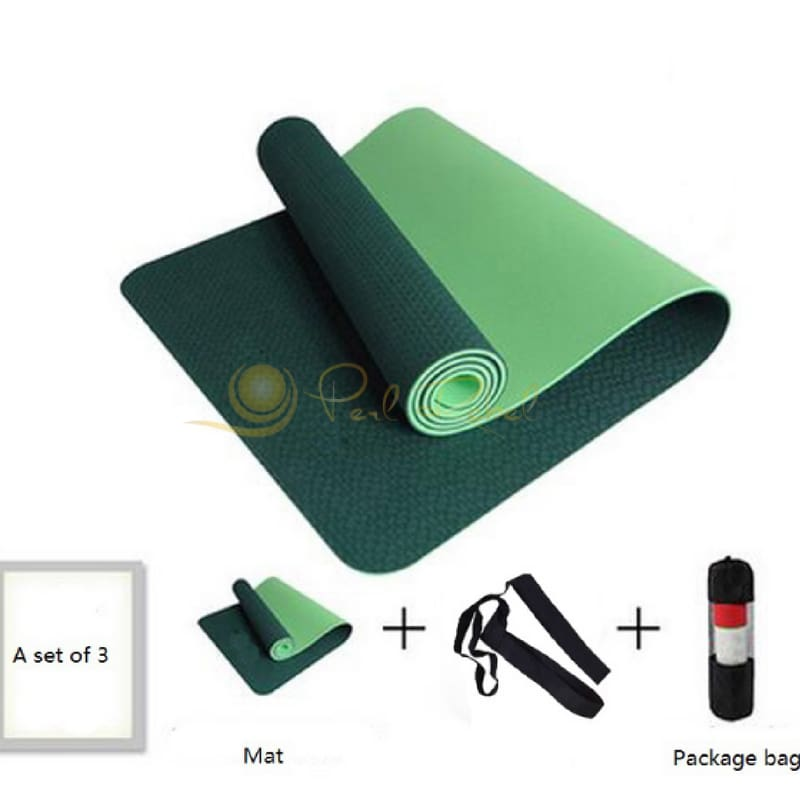 Pilates - Yoga & Fitness - Mat + Sangle Sac - Réversible - 183/61/0 6 Vert Tapis Yoga Pilates
