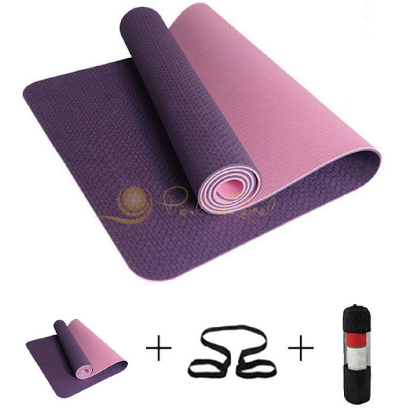 Pilates - Yoga & Fitness - Mat + Sangle Sac - Réversible - 183/61/0 6 Violet Tapis Yoga Pilates