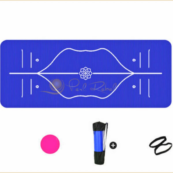 Pilates - Yoga Mat - Ultra Confort - Systeme Dalignement - 185/85/10 Bleu Tapis Dalignement Pilates Yoga
