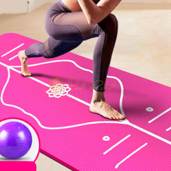 Pilates - Yoga Mat - Ultra Confort - Systeme Dalignement - 185/85/10 Tapis Dalignement Pilates Yoga