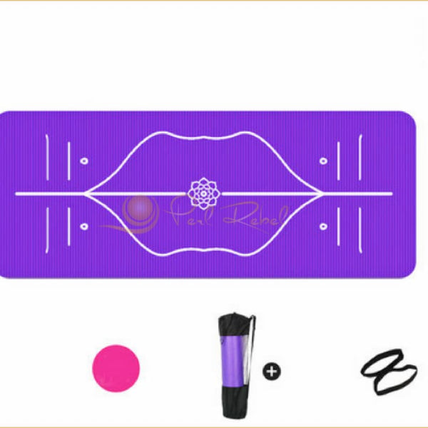 Pilates - Yoga Mat - Ultra Confort - Systeme Dalignement - 185/85/10 Violet Tapis Dalignement Pilates Yoga