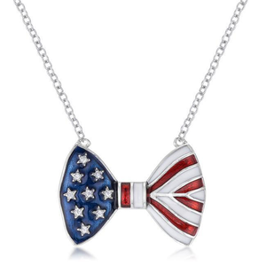 Stars and Stripes Bow Tie Necklace with Cubic Zirconia Accents