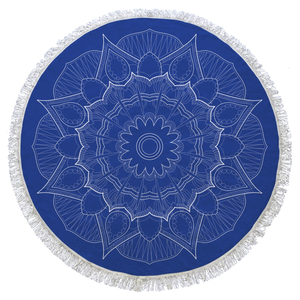 Dark Blue Mandala Turkish Cotton Round Beach Towel