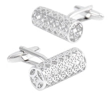 Hollow, Stainless Steel Plated Cylinder Cuff Links