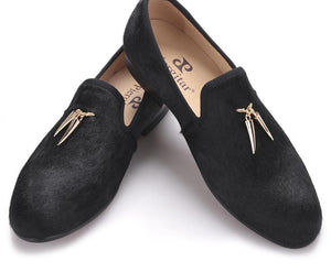 Horsehair Loafers with Metal Shark Tooth Shaped Tassels