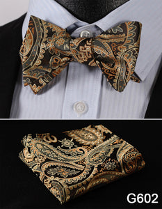 Floral or Paisley Patterned Silk Bow Tie Set w/Pocket Square