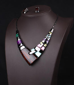 Rhinestone Crystal Acrylic Geometric Necklace and Earring Set