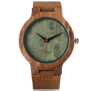 Wooden Quartz Watch Bamboo Modern Wristwatch Soft Leather