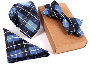 3-Piece Set: Slim Tie+Bow Tie +Handkerchief (Various Color Choices)