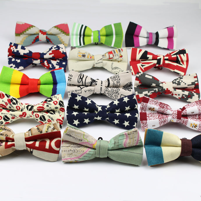 Linen Printed Bow Ties (Various Designs and Color Choices!)
