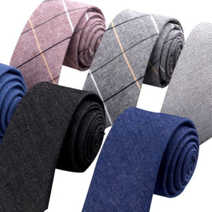 Plaid Cotton Skinny Neck Ties (Various Color Choices)