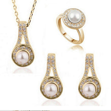 Jewelry Set: Faux Pearl Necklace, Ring, and Earrings (Various Color Choices)