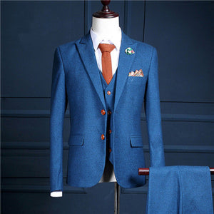 (jacket+pants+vest) autumn blue casual slim fit