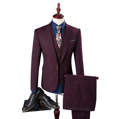 3-piece  British Wine Red Slim Fit Suit Set (Jacket+Pant+Vest)