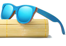 Mirrored Bamboo Sunglasses UV 400 Protection Lenses in Wooden Box