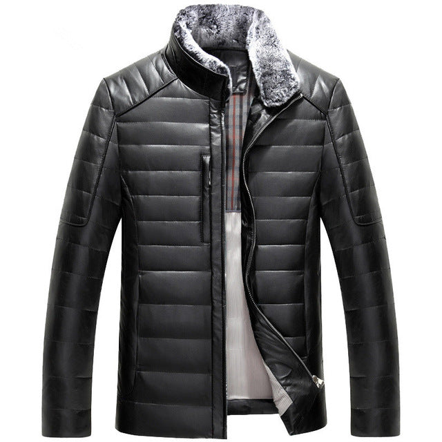 Sheepskin Leather Slim Fit Down Jacket with stand collar (Color Choices!)