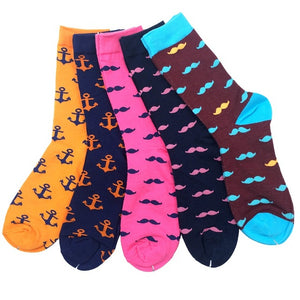 MUSTACHE & ANCHOR Cotton Sox  (5 Pack)
