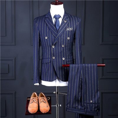 Blue striped Slim fit Suit (jacket+pants+vest)