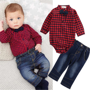 2PCS Infant Set: Plaid Romper w/Bow Tie + Baby Jeans