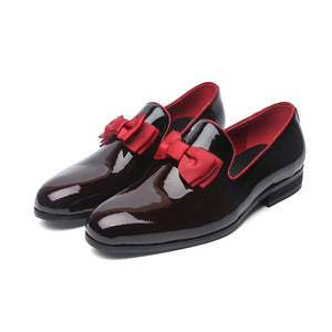 Patent Leather Loafers With Bow (3 Color Choices)