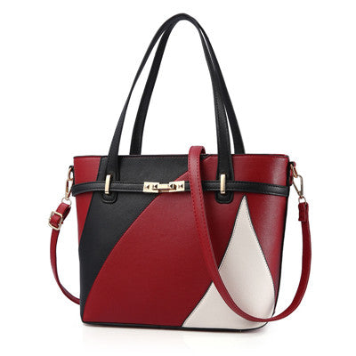 Leather Patchwork Tote Handbags  (6 Color Choices!)