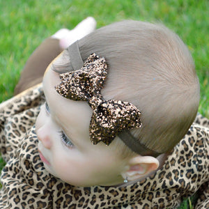 Sequin Sparkly Elastic Bow  Headband Accessories (Various Color Choices!)