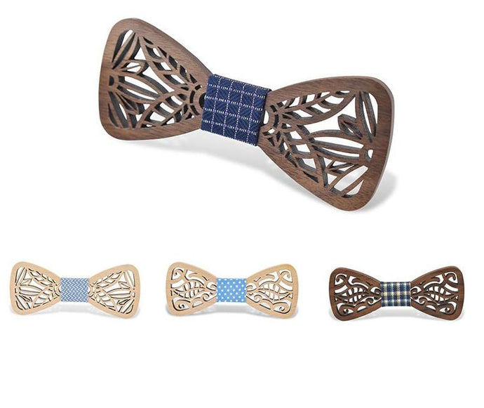 Hollow Maple or Black Walnut Wood Bow Ties (Various Colors & Design Choices!)