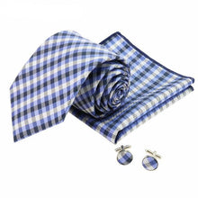 Blue Plaid Formal Suit Tie Set