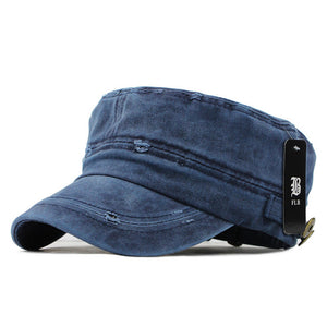 Classic Vintage Flat Top Denim Washed Adjustable Caps (Various Color Choices)