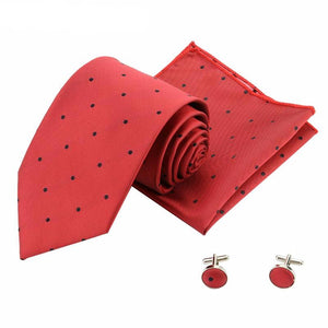 Red Polyester Yarn Formal Suit Tie Set