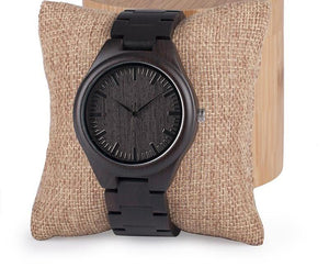 Ebony Wood Watch with Wood Links Quartz Movement (Wood Gift Box Included)