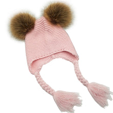 Baby Knit Hat w/Faux Fur Pompoms (Various Color Choices!)