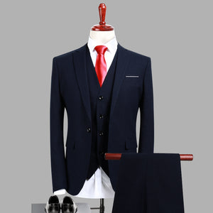 Soild Dark Blue Slim Fit Suits