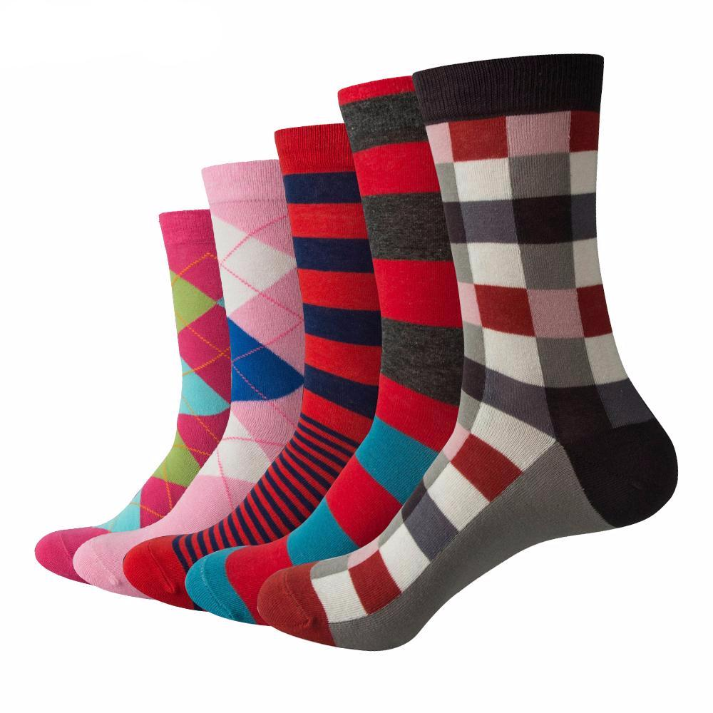 Argyle and Stripe Cotton Business Socks  (5 pairs)